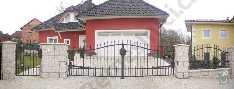 Ozdobný kovaný plot, branka a křídlová brána s pohonem: VN01