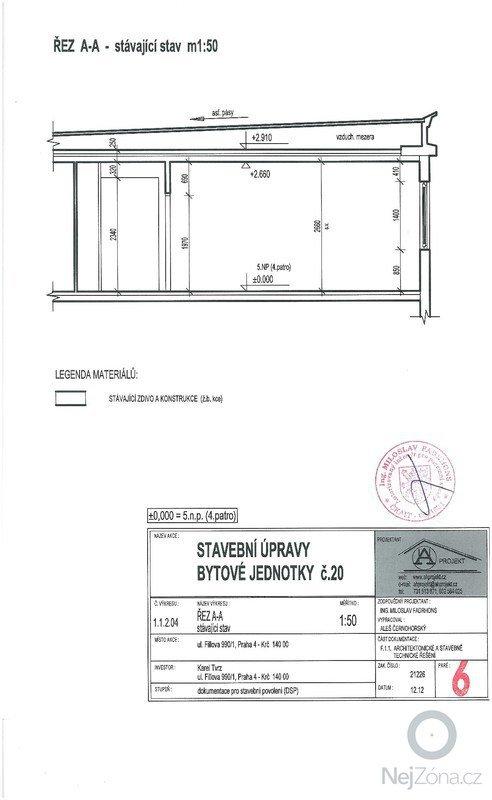 Poptávám rekonstrukci bytu se změnou dispozice ze současného 2+1 na 3+kk.: Rez_A-A_stavajici_stav