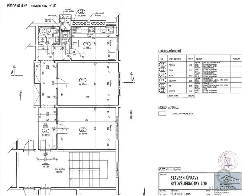 Poptávám rekonstrukci bytu se změnou dispozice ze současného 2+1 na 3+kk.: stavajici_stav
