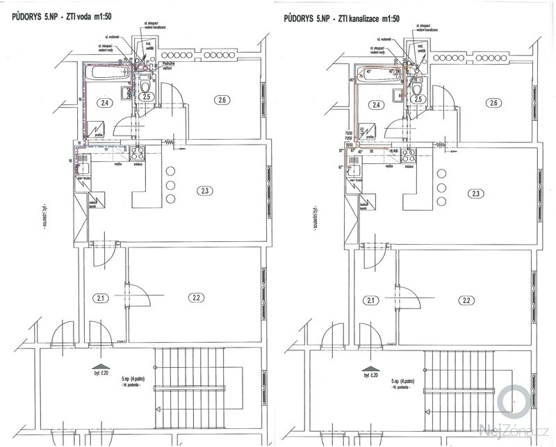 Poptávám rekonstrukci bytu se změnou dispozice ze současného 2+1 na 3+kk.: ZTI_voda_a_kanalizace