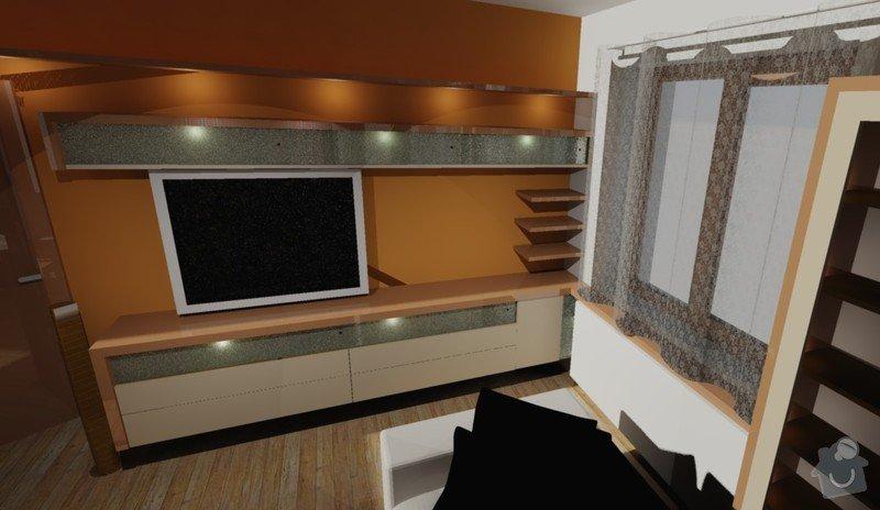 Návrh interieru obývacího a dětského pokoje: stena_s_televizi