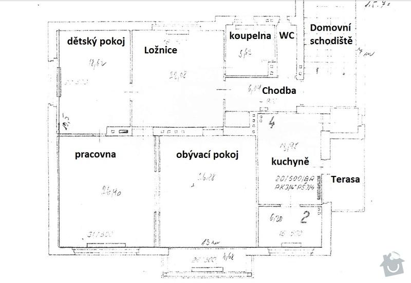 Stavebně technický průzkum velkého bytu ve vile: pudorys