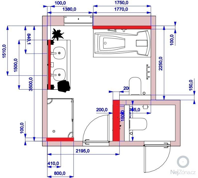 Zednické práce: koupelna-plan
