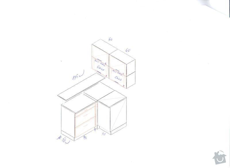 Kuchyňskou linku, potravinovou skříň a skříň na pračku: kuch.B