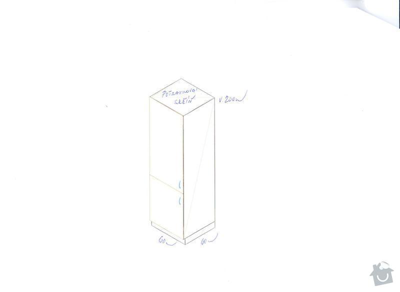 Kuchyňskou linku, potravinovou skříň a skříň na pračku: kuch.-potravinovka