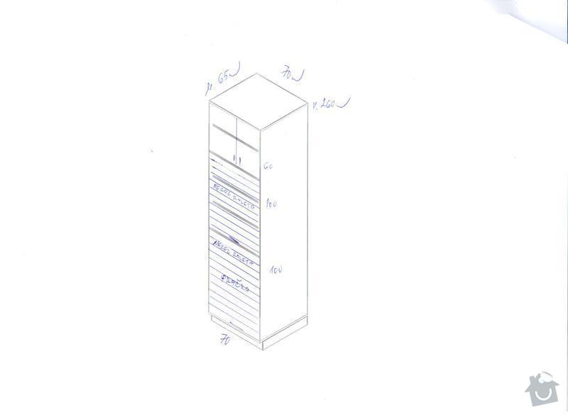 Kuchyňskou linku, potravinovou skříň a skříň na pračku: pracka