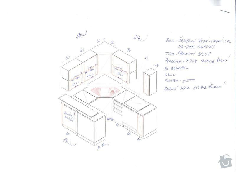 Kuchyňskou linku, potravinovou skříň a skříň na pračku: kuchyn_A