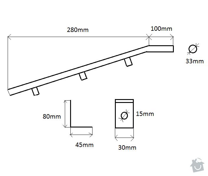 Schodišťové zábradlí na stěnu : rozmery