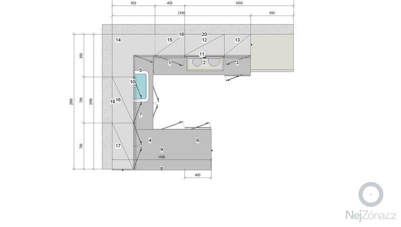 Vestavné skříně, sádrokartonové zdi a kuchyň: KUCHYN_1