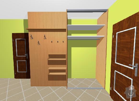 Vestavné skříně, sádrokartonové zdi a kuchyň: skrin_kabaty_a_stena_2