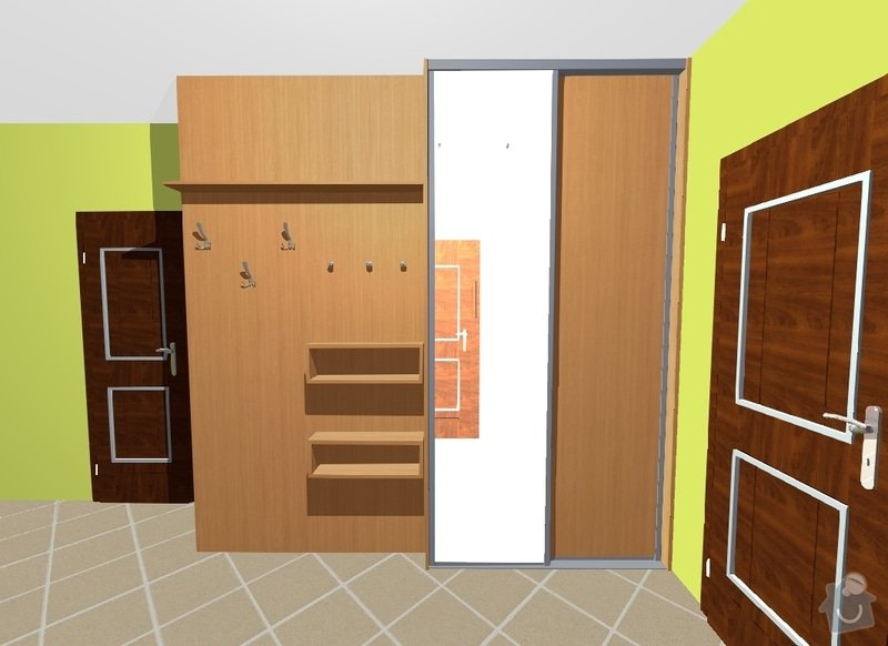 Vestavné skříně, sádrokartonové zdi a kuchyň: skrin_kabaty_a_stena