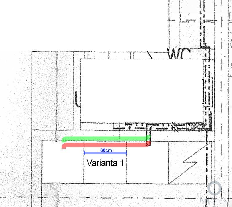 Zapuštění odpadního potrubí (0,6 až 1,5m) do cihlové příčky: odpad1