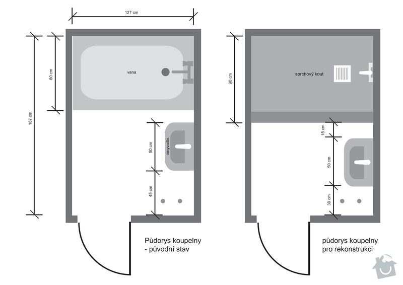 Instalatérská práce (výměna vodovodů +odpad v panelovém jádře): koupelna_pudorys