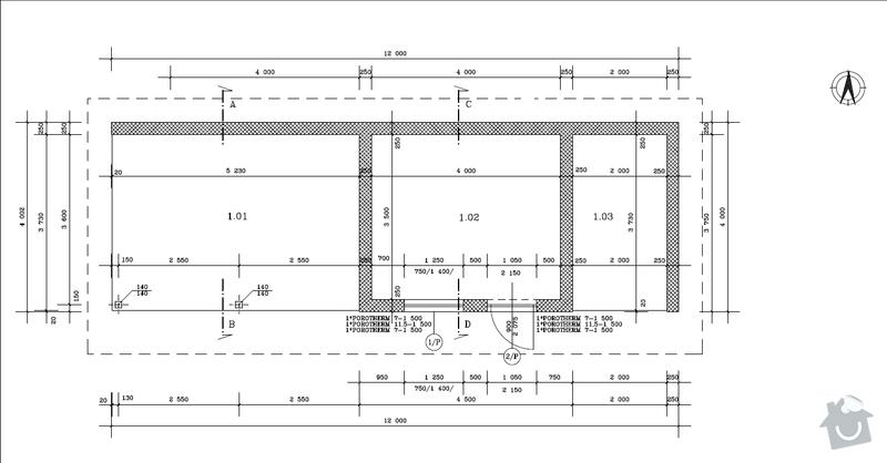Výstavba hr. stavby garáže - Porotherm 24 Dryfix: Pudorys_1.NP