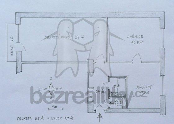 Renovace bytu - cihla, 53 m2,
