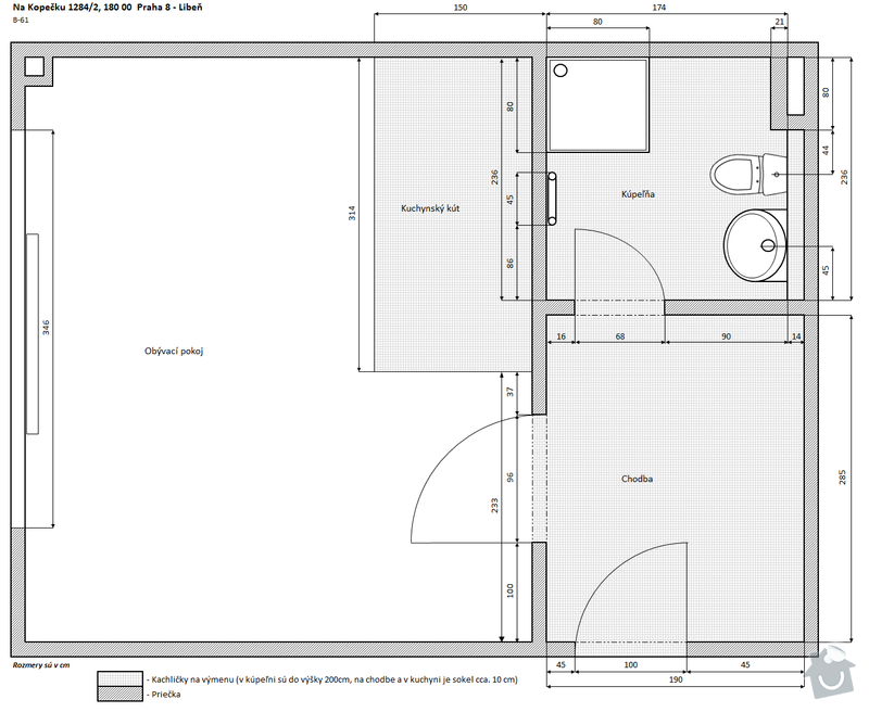 Renovace koupelny, vstupnej chodby a kuchynskeho kuta: Na_Kopecku_B-61_podorys
