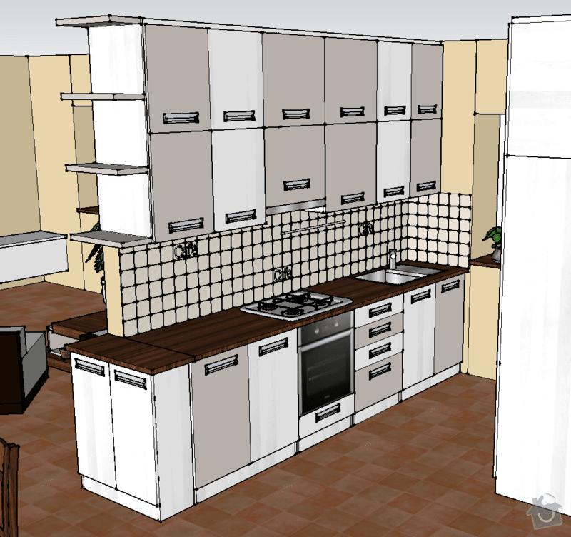 Návrh, výroba a montáž kuchyňské linky: pohled_1A