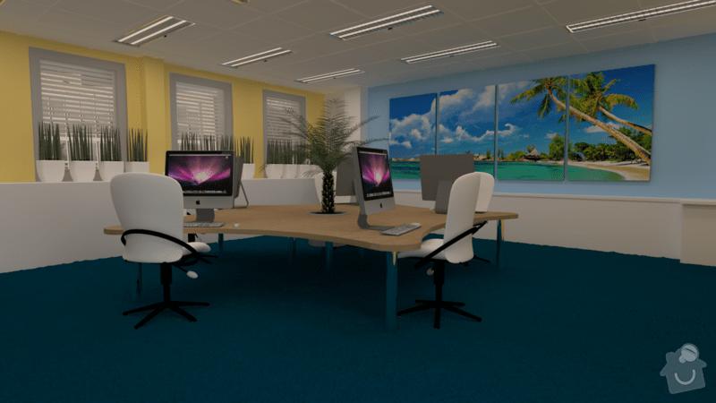 Pracovní stůl pro 5 osob: render