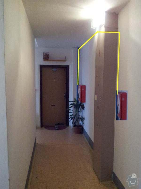 Přeložení hydrantu ve společné chodbě panelového domu.: presun