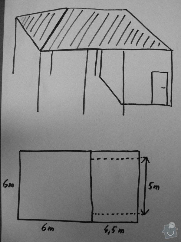 Zatřešené parkovací stání (2 auta) + zastřešení přilehlého zahradního domku: stani