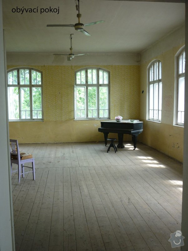 Renovace staré prkenné podlahy (cca 80 let staré): obyvak