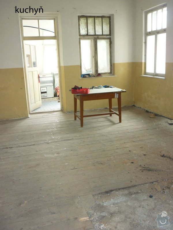 Renovace staré prkenné podlahy (cca 80 let staré): kuchyn