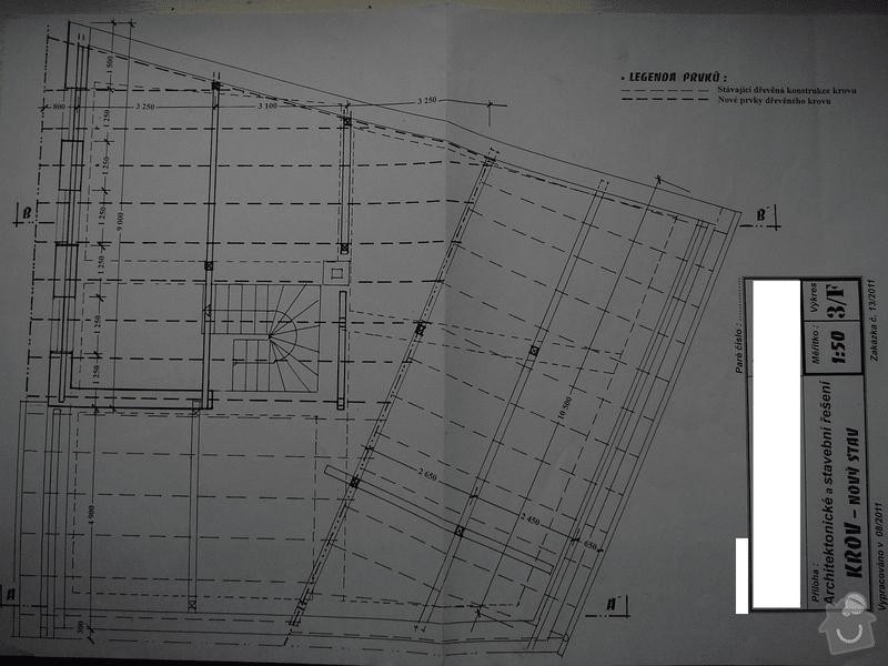 Nový krov, věnec, nástavba, krytina: krov