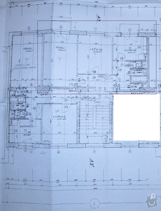 Vodoinstalace - rozvody + odpady 2 byty 2+KK: Pudorys-vyznacen-byt-k-rekonstrukci_1_