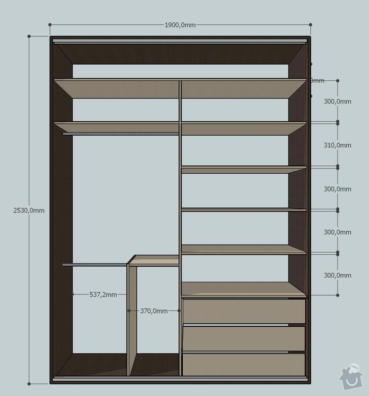 Vestavná skřín do ložnice: Front