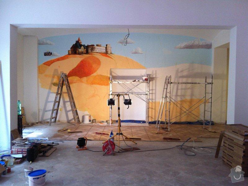 Nástěnná malba v restauraci.: MALBA_V_PROCESU_1_-_32m2