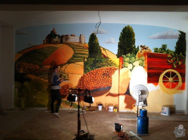 Nástěnná malba v restauraci.: MALBA_V_PROCESU_2_-_32m2