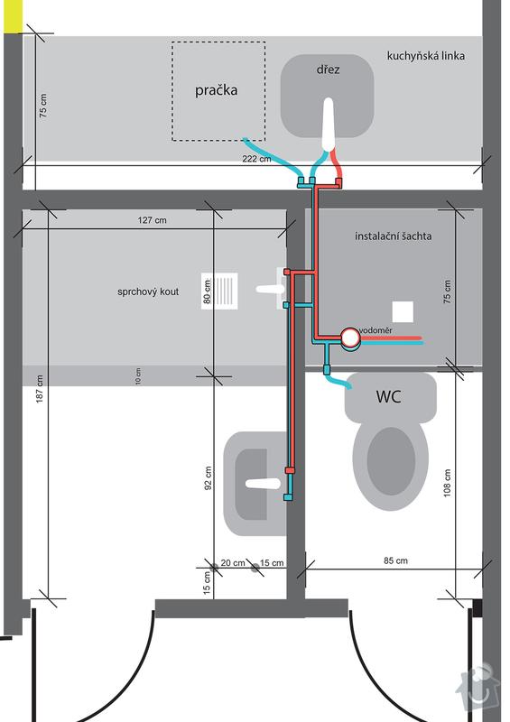 Instalatérská práce (výměna vodovodů +odpad v panelovém jádře): pudorys_rozvod_vody