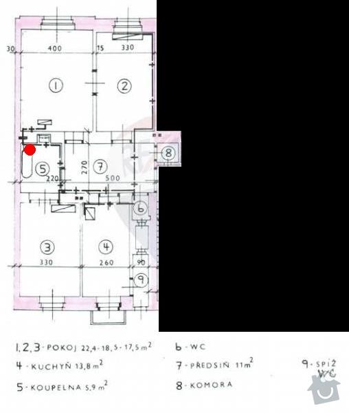 Výměna WAW v bytě 3+1: planek