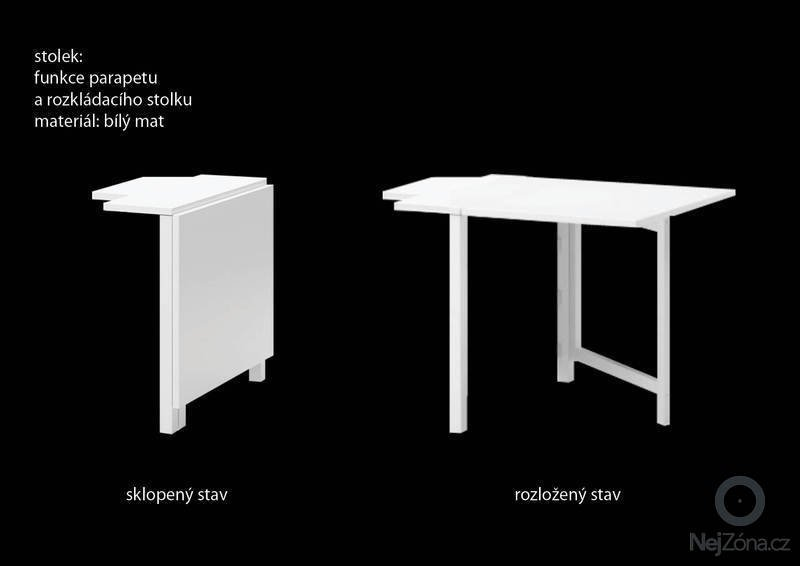 Truhlářské práce (rozkládací stolek + jednoduchá lavice): stolek_3D