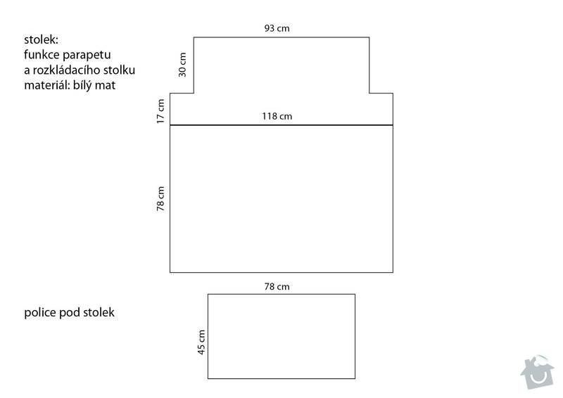 Truhlářské práce (rozkládací stolek + jednoduchá lavice): stolek_rozmery