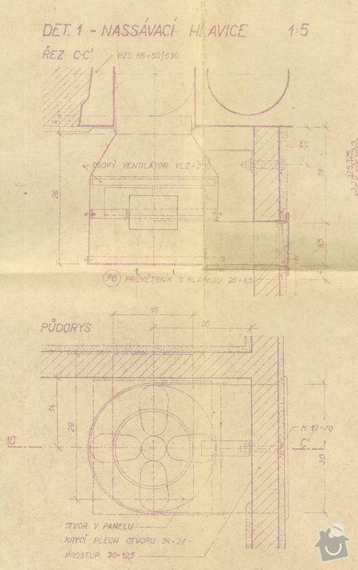 Návrh a zhotovení odvětrání koupelny a WC: vykres