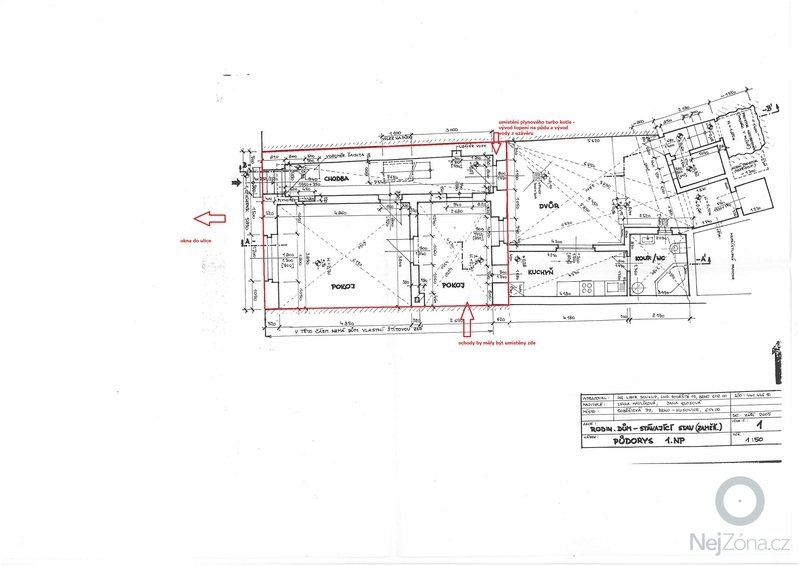 Poptávám stavební firmu na nástavbu řadového RD: pudorys