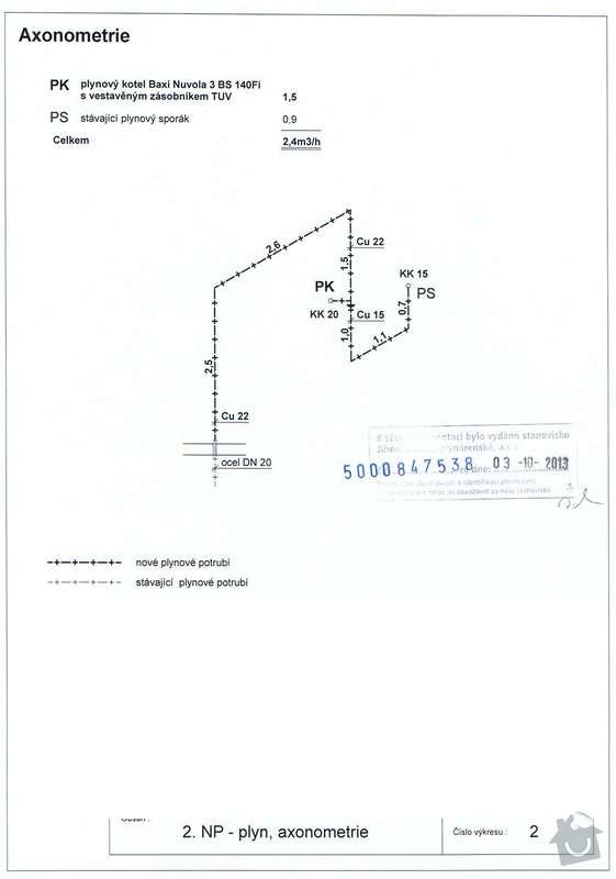 Rekonstrukce topení v bytě: Plyn_axonometrie
