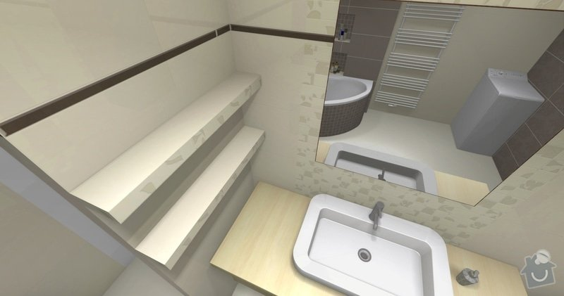 Obkladačské práce v novostavbě RD - koupelna a WC: koupelna_policky