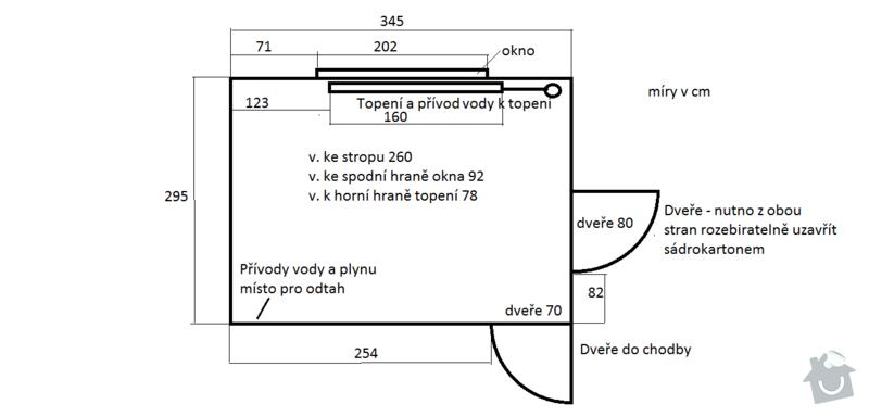 Rekonstrukce kuchyně v panelovém domě: Pudorys
