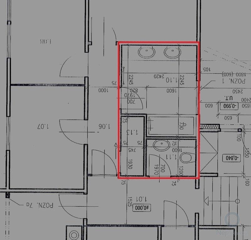 Rekonstrukce koupelny v rodinném domě - kompletní přestavba jádra s půdorysem 10 m2: koupelna