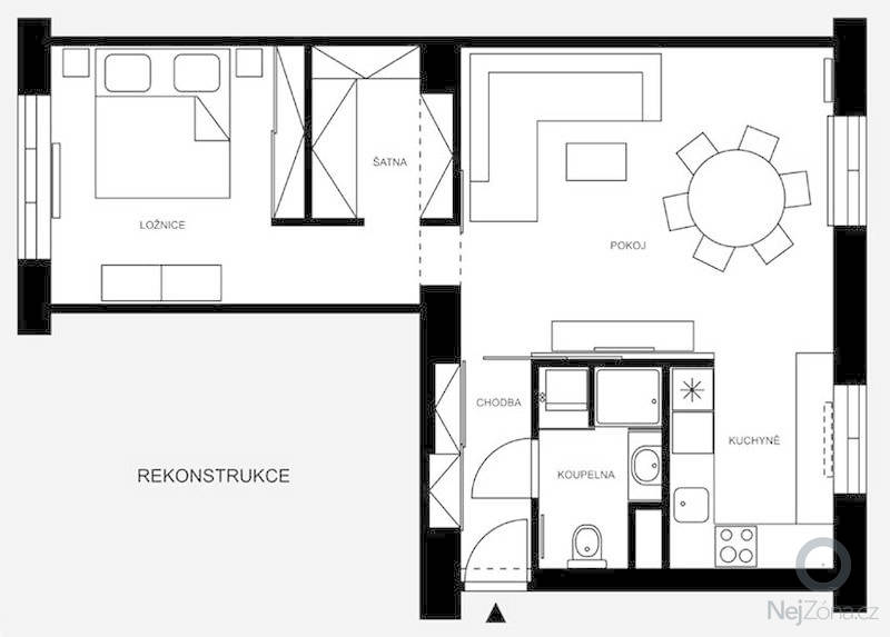Rekonstrukce, přestavba z 2+1 na 2+kk: porekonstrukci