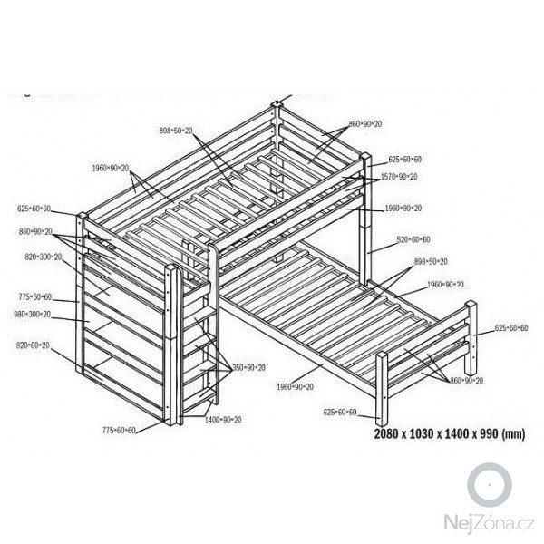 Patrová postel rohová: detska-patrova-postel-l-beni-l-bila-masiv-buk