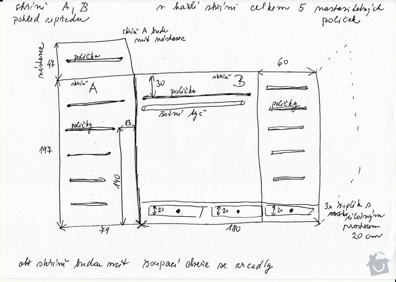 Výroba 3 skříní z masivu borovice na míru: Skrine02_pic