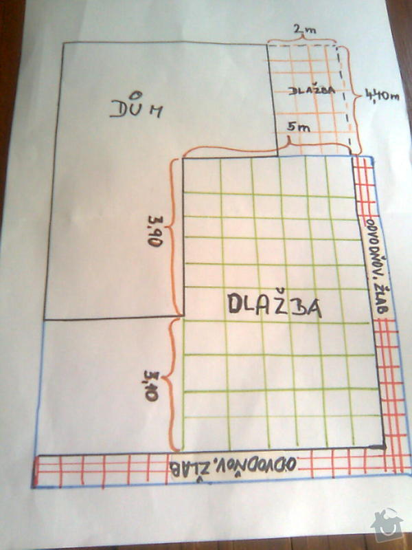 Zhotovení dlažby a odtok. žlabů kolem RD: Dlazba-Votice_002