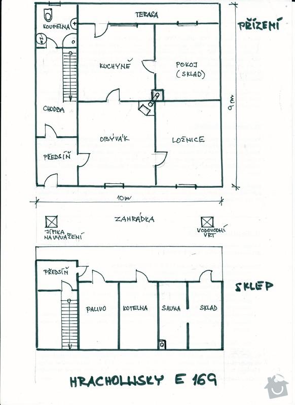 Téměř kompletní rekonstrukce starého domu: pudorys_Hracholusky