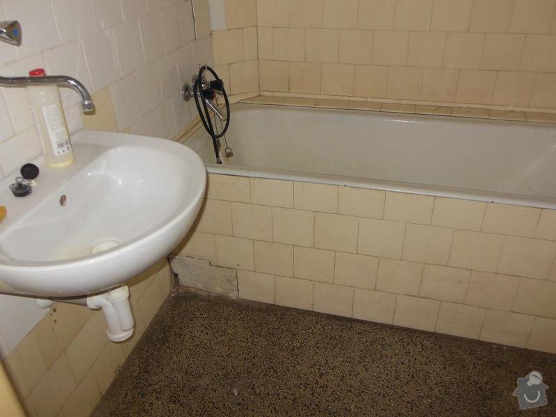 Rekonstrukce koupelny a wc, obklad kuchyně: koupelna