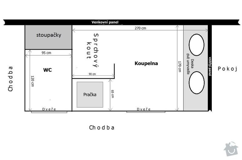 Rekonstrukce bytového jádra: koupelnax2