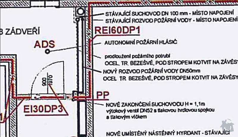 Přepojení hasičské vody - hydrant + suchovod (instalatérské práce)): planek