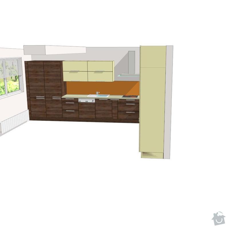 Kuchyňská linka a sádrokartonový podhled: 3d